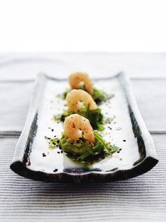 Gamba's met Zeewier en Avocado Puree