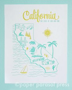 #paperparasolpress #california #letterpress.   Got this state on my mind lately.  11x14 Letterpress Print California Vintage Travel by paperparasol, $30.00