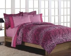 Girls Teen Hot Pink Zebra Print Comforter Bedding Set - Product Description: Wild One Full Bed in a Bag - Multi (NEW in Original Packaging) Me-ow, wow! Take a walk on t Pink Comforter Sets, Twin Xl Bedding, Teen Bedding, Pink Bedding, Bedding Sets, Kohls Bedding, Luxury Bedding, Bedroom Comforters, Bed Rooms