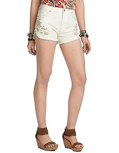 Free People Tulum Embroidered Denim Shorts