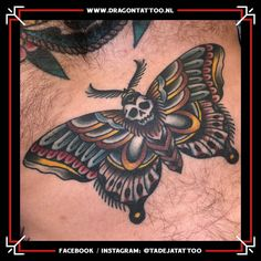 Traditional Moth Tattoo. On the chest.  Designed and Tattooed by: Tadeja Dragon Tattoo Traditional Moth Tattoo, Tattoo Tradicional, Tattoo Portfolio, First Tattoo, Color Tattoo, Dragon, Skull, Tattoos, Design