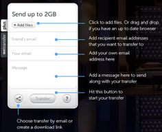 Send Files upto 2GB from We Transfer
