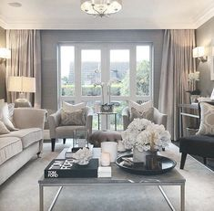 Love the recessed curtain rail and curtains all the way to the edges! Classical #livingroomlayout Living Room Decor On A Budget, Elegant Living Room, Cozy Living Rooms, New Living Room, Formal Living Rooms, Living Room Modern, Living Room Interior, Living Room Designs, Grey Living Room Curtains