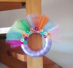 Rainbow tulle wreath multicolor tulle dorm decor rainbow