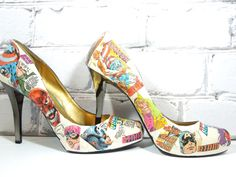 Comic Book Heels. Custom Made. Avengers. Star Wars. XMen. HQ. Spiderman. Captain America. Wedding. Birthday or Special Occasion. on Etsy, $90.00