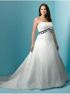 A-line Strapless Chapel Train Lace and Satin Plus Size Wedding Dresses 902006