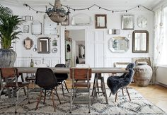 Dining room with vintage gallery wall