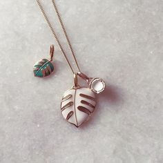 For paired-back sunny vibes style these happy talismans together. Love wearing Coconuts & Monsoon palm pendants together this summer. #tropical #motifs #jewellery #charms