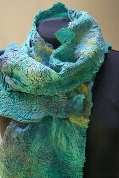 Nuno Felted Silk Charmeuse Peacock Scarf a by sugarplumoriginals Nuno Felt Scarf, Felted Scarf, Dyed Silk, Knit Picks, Silk Charmeuse, Nuno Felting, Colour Palettes, Wearable Art, Making Ideas