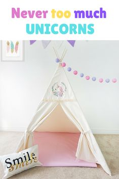 Ivory fabric with neat UNICORN application and peach lace frills. Princess  tipi for trendy girls. 8f495db22e6