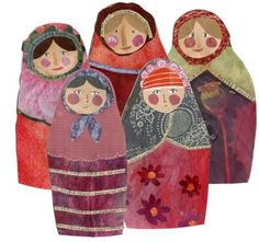 Fabric Russian Dolls--I LOVE this! The colors of the fabric and the faces are modern with a folk art twist.