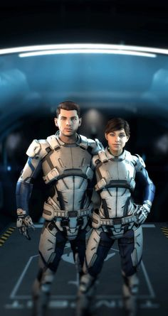 Can´t wait to meet these two! =) (Hope they don´t die - like c´mon, Bioware, not my brother this time! Mass Effect Ryder, Tali Mass Effect, Mass Effect Cosplay, Mass Effect Games, Mass Effect Characters, Sci Fi Characters, Sara Ryder, Sci Fi Armor, Elf Armor