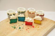 rainbow logo cupcakes