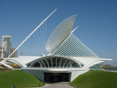 Santiago Calatrava's museum in Milwaukee, WI    Calatrava's museum is right on Lake Michigan - looks like a stingray with the sting in the wrong direction