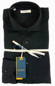 Delsiena 2521 30 Linen Shirt Black - £75 with FREE UK Delivery #Linen #Mens #Fashion #Delsiena #Summer