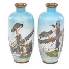 PAIR OF ANDO TYPE JAPANESE CLOISONNE VASES.