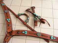 Custom tack set Follow Your Arrow, turquoise, beaded medallion, copper arrows and copper conchos.