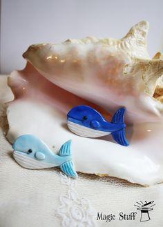 Blue Whale Brooch, cute fish pin, Handmade, sea jewelry, Whale pin, Gift :)