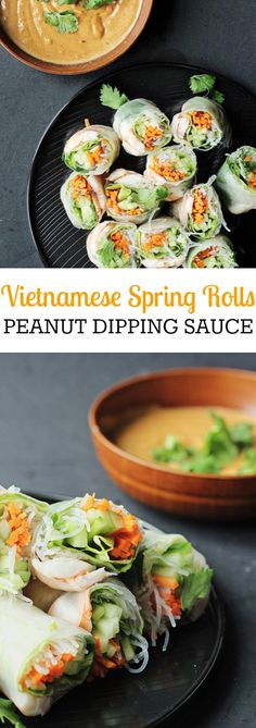 Fresh and light Vietnamese shrimp spring rolls with spicy peanut dipping sauce. Delicious and easy recipe full with vegetables and flavours!