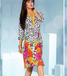 Buy Gorgeous Rayon Cotton Printed Multicoloured Stiched Fashion Kurtis party-wear-kurti online