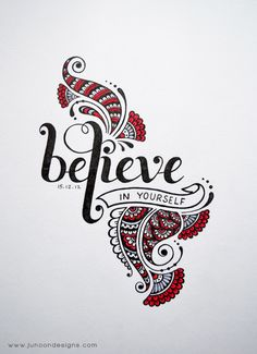 Believe in Yourself by Faheema Patel Hand lettering, typography. I love the use of words and zentangle. Calligraphy Letters, Typography Letters, Typography Design, Tatoo Lettering, Doodle Art, Doodle Drawings, Doodles Zentangles, Zentangle Patterns, Painting & Drawing