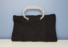 Vintage Corde Crochet Bag with Twisted Lucite Handles by CurioBoxx