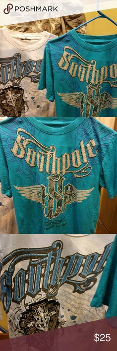 Lot of 3 Southpole t-shirts Aeropostale camo short Lot of 3 South Pole t-shirts Aeropostale camo shorts T-shirt size medium men's shorts size 28 everything is been used but still in good condition Tops Tees - Short Sleeve