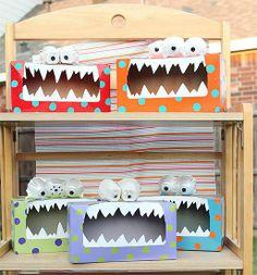 ¡Miren que increíbles monstruos KalZ! Lo mejor de todo es que están hechos con cajas de cartón de los pañuelos desechables. ¡Reciclar es divertido!