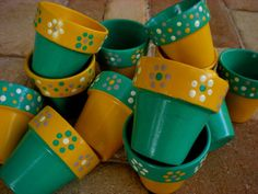 Small Painted Flower Pot Wedding Favors - Bridal and Baby Showers on Etsy, $3.00