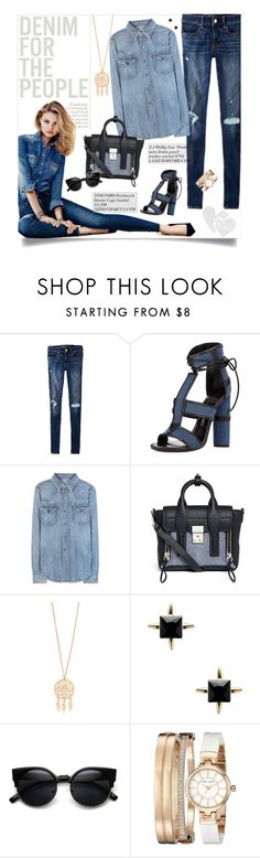 """""""Denim For The People"""" by happilyjynxed ❤ liked on Polyvore featuring American Eagle Outfitters, Tom Ford, Polo Ralph Lauren, 3.1 Phillip Lim, Jules Smith, Anne Klein, denim, springdenim and denimaccessories"""