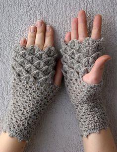 Women Fingerless gloves dragon egg pattern mittens by mareshop, $32.00