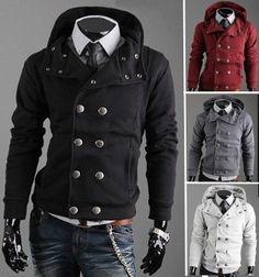 Men's Double Breasted Hoodie Jacket