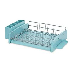 This KitchenAid Aqua Sky 3 Piece Dish Rack comes with a removable drainboard and multi-purpose flatware caddy, and will add a splash of color to your kitchen. Large capacity dish rack holds a variety of dinnerware and cookware. Turquoise Kitchen, Teal Kitchen, Happy Kitchen, Kitchen Dining, Kitchen Decor, Kitchen Ideas, Vintage Kitchen, Mason Jar Kitchen, Kitchen Utensils