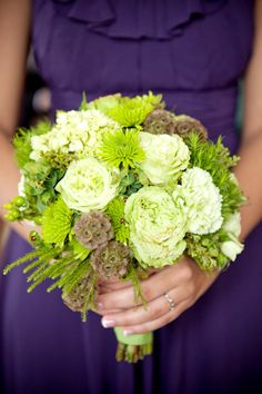 Love all the green against dark purple - can add any color to customize for the brides preference.