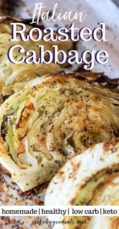 Italian roasted cabbage is an EASY side dish with only 5 ingredients! So tender and full of flavors. Roasted cabbage is one of my favorite ways to make cabbage. This healthy side dish is a low carb Low Carb Side Dishes, Veggie Side Dishes, Healthy Side Dishes, Side Dishes Easy, Side Dish Recipes, Food Dishes, Italian Side Dishes, Vegetable Sides, Recipe For Side Dishes