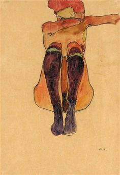 Egon Schiele, SEATED NUDE WITH VIOLET STOCKINGS