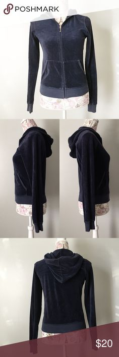 Juicy Couture Velour Track Jacket Navy Blue Juicy Couture Velour zip up hooded Track Jacket. Size M Juicy Couture Jackets & Coats