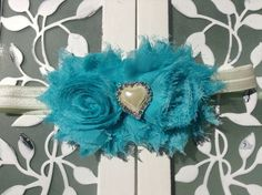 Heart pearl peacock blue shabby chic headband for baby toddlers and little girls - Headband for girls - Christmas holiday