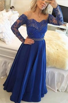 royal blue prom dress, long prom dress, lace prom dress, 2017 evening dress, lace prom dress, BD401
