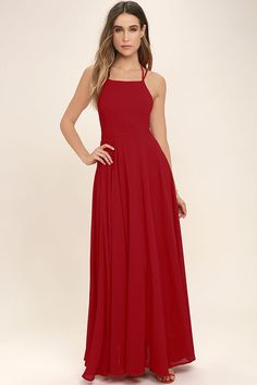 The Strappy to be Here Red Maxi Dress is your new fun go-to! Lightweight Georgette sweeps across this maxi dress with a strappy apron neckline. Lacing open back. Red Dress Casual, Elegant Maxi Dress, Backless Maxi Dresses, Classy Dress, Maxi Skirts, Long Dresses, Formal Dresses, Red Skater Dress, Red Maxi