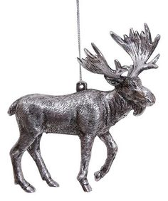 Add a woodland touch to your Christmas decorations this year with this lovingly detailed ornament. HPlasticReady to hangImported Woodland Christmas, Silver Christmas, Fantasy Forest, Decorative Pillows, Moose Art, Ornaments, Walking, Beautiful, Christmas Stuff