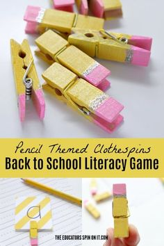 This school year kick off the fun with spelling words and sight words with a little twist. Create these adorable pencil themed clothespins for back to school literacy games for your beginning reader. Back To School Art, Beginning Of School, School Fun, Back To School Gifts For Kids, School Craft, School Days, Literacy Games, Preschool Activities, Reading Activities