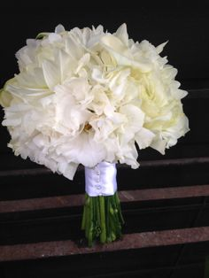 White Bouquet with Hydrangeas, Calla Lilly's, Lisianthus and Dahlias