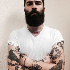 Chris John Millington - full thick very dark beard and mustache beards bearded man men mens style tattoos tattooed handsome #beardsforever