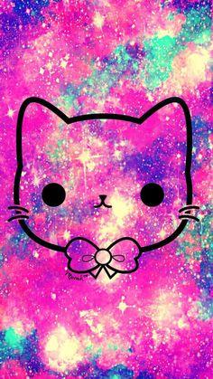 Hipster Wallpaper, Wallpaper Iphone Disney, Kitty Wallpaper, More Wallpaper, Kawaii Wallpaper, Galaxy Wallpaper, Wallpaper Backgrounds, Hello Kitty Drawing, Cute Pink
