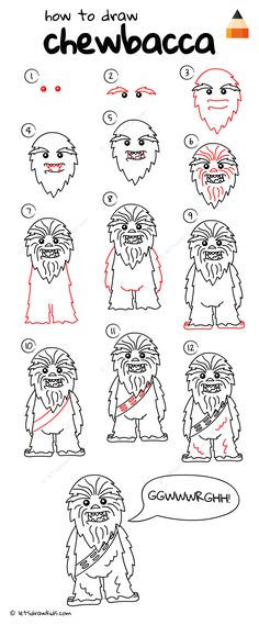 How to draw chewbacca from star wars Star Wars Drawings, Doodle Drawings, Drawing Sketches, Drawing Drawing, Pattern Drawing, Drawing Ideas, Star Wars Crafts, Star Wars Art, Chewbacca