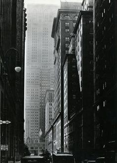 Berenice Abbott - Vanderbilt Avenue    Looking south from 47th Street, October 9, 1935    From Berenice Abbott: Changing New York