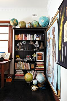 Top tip: book shelves don't have to be for books only use them to make encased displays, also repetition is key-arrange a striking piece in multiples Kid Spaces, Small Spaces, Bookshelves, Bookcase, Armelle, Melbourne House, First Home, Globes, Home Decor Inspiration