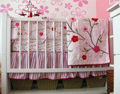 flower crib bedding girls | pink cherry blossom flower girl nursery pink flower bedding on sale ...