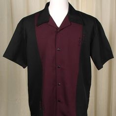 This shirt was made for a handsome man! It's black with a deep burgandy, almost plum colored center panel with subtle diamond embroidery on . Steady Clothing, Men's Clothing, Bowling Shirts, Plum Color, Contrast, Men Casual, Handsome Man, Fabric, Mens Tops